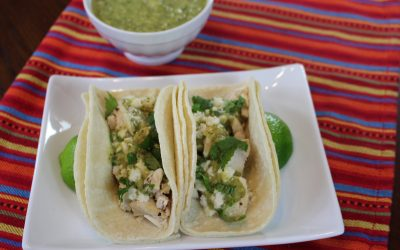 Roasted Tomatillo and Chicken Tacos by Fiesta Seasoning