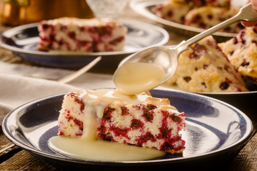 Wild Arctic Cranberry Cake with Warm Butter Sauce